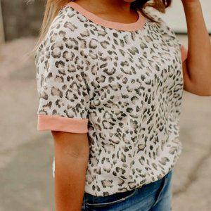 Hip Leopard Tee Shirt with Pink Trim